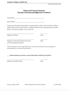 Screenshot of Notice of Privacy Practices Receipt Form
